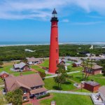 Magnificent aerial view of the Ponce Inlet Lighthouse and historic keepers cottages