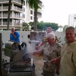 Family enjoying the grilling area
