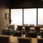 The conference area provides privacy for your event with a closed sliding door.