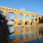 The spectacular Pont du Gard, where we watched Cliff Martins and Rock Sparrows