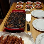 Blueberry French Toast, Melon Salad, Maple Bacon -  Yummy breakfast ready to serve.