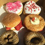 Valentine's donuts (top), strawberry cheesecake (middle), and blueberry cake (bottom)