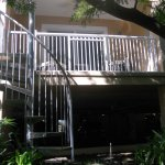 You can take this stair case from lanai or leave from front door to exit the room