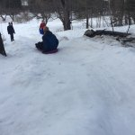 Cruising down one of the sledding hills at Driftwood
