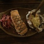 Salmon, Slaw and baked potato (HOLD the Tartar Sauce on the Potato!)