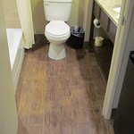 Roomy but still cozy bathroom with great ceramic 'plank' flooring