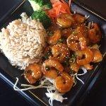 Shrimp teriyaki ($9.95) with brown rice
