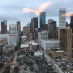 Houston downtown from the rooftop pool area