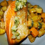 Salmon Fillet + Squash, Potatoes + Spinach For Mains
