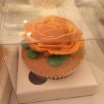 A boxed cupcake to take home