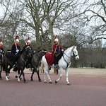 Mounted Guards approaching Buckingham Palace