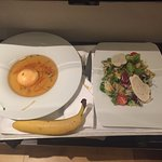Room service - chicken soup with fresh salad and a banana