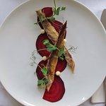 Beets, smoked mackerel, hoarse radish purée