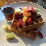 "Fresh ""bench"" waffles with fresh fruit and syrup"