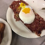corned beef hash and poached egg