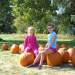 A couple of  young customers poising with our pumpkins