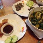 Pork on the left (I think), chicken sausage, veggie soup