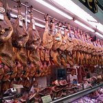 One of the stands at the Central Market where they sell jamón ibérico (Spanish ham)