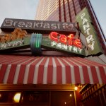 Classic neon signage and awning