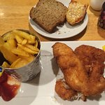 Fish and chips and homemade brown bread