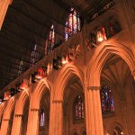 Interior of the National Cathedral; just a few of the many stained glass windows you see everywh