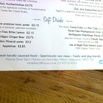 Part of the Menu at The Cliff House Restaurant, Barton-on-Sea, Hampshire