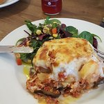 delicious home made moussaka, vegetarian and so tasty! with a rapsberry sparkling drink from Don