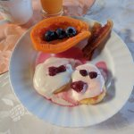 Delicious homemade breakfast with fresh fruit!