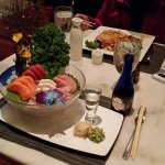 The sashimi presentation goes vertical at Sake.