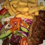 steak and chips (good salad)