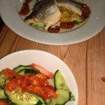 sea bass and side salad