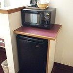 Fridge and microwave inside the room