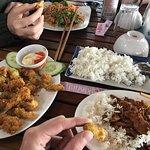 pho ga soup and pork dish with 5-flavour sauce and crispy calamari