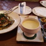 chicken soup with spinach salad