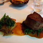 Eye fillet of aged Kyneton Black Angus beef, porcini gratin, spinach,caramelised onion, brocolin