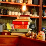 Cookbooks on the counter.