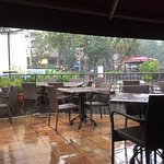 Watching it rain from the outside seating area