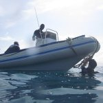 Alice our fast inflatable boat, it takes less than 10 min to go to Mnemba.