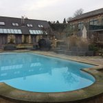 Outdoor pool steaming in the icy air. It's perfectly warm enough to swim there in winter.