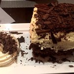 Dessert special with hazelnut crispy treat and chocolate and white chocolate mousse