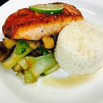 Pan Asian Salmon, jasmine rice, bok choy & shiitake mushrooms