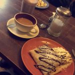 Crepes, coffee and hot chocolate