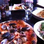 Lucianos pizza, linguini and steak.