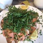 Smoked Salmon, rocket, lemon mayo open sandwich