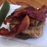 Longstreet Burger with no bun! Yum! Bacon, caramelized onions and peanut butter!