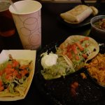 Veggie & tacos & delicious horchata drink