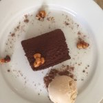 Corned beef (home cooked brisket), treacle & date tart, chocolate brownie with hazelnut ice crea