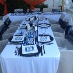 Our table set for wedding breakfast overlooking the sea