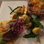 vegan tart, purple sweet potato with guava sauce,and home grown veggies