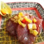 Thon cru marinade mangue et poivrons